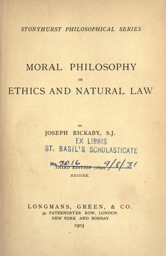Download Moral philosophy, or, Ethics and natural law