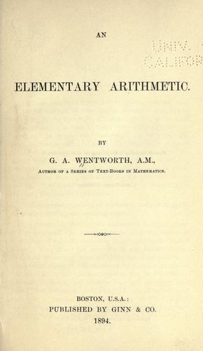 An elementary arithmetic.