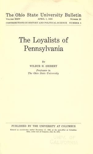 Download The loyalists of Pennsylvania