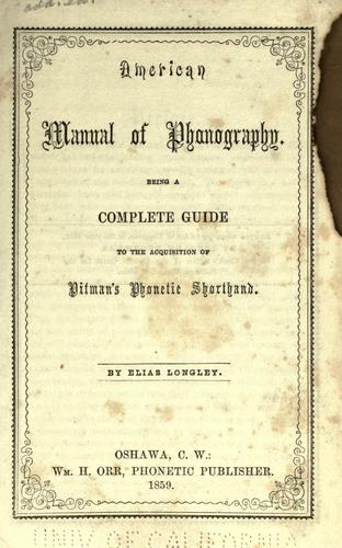 American manual of phonography.
