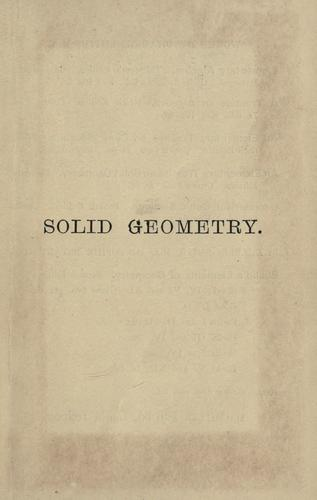 An elementary treatise on solid geometry.