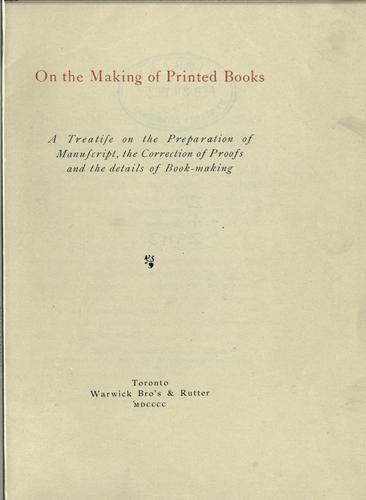 Download On the making of printed books