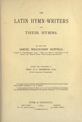 Download The Latin hymn-writers and their hymns