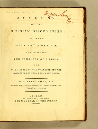 Download Account of the Russian discoveries between Asia and America