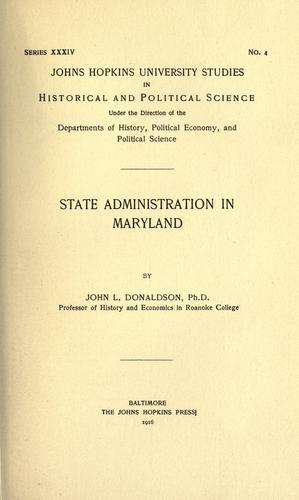 State administration in Maryland