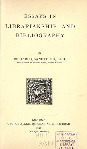 Download Essays in librarianship and bibliography.