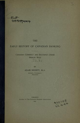 Download The early history of Canadian banking