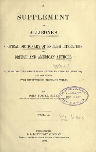 Download A supplement to  Allibone's Critical dictionary of English literature and British and American authors