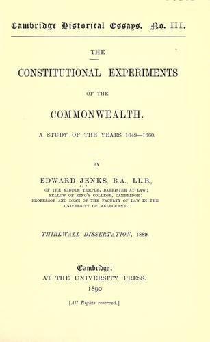 Download The constitutional experiments of the Commonwealth.