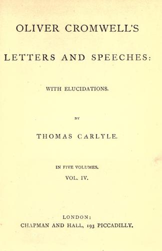 Download Oliver Cromwell's letters and speeches
