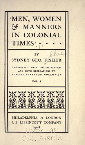 Download Men, women & manners in colonial times
