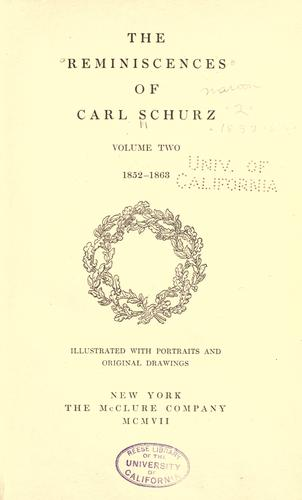 The reminiscences of Carl Schurz