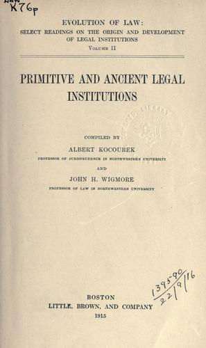 Primitive and ancient legal institutions.