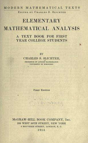 Download Elementary mathematical analysis