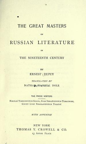 Download The great masters of Russian literature in the nineteenth century