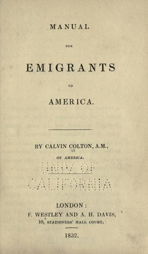 Manual for emigrants to America