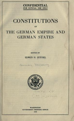 Constitutions of the German empire and German states.