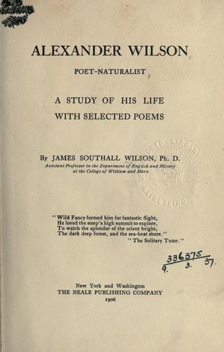 Alexander Wilson, poet-naturalist