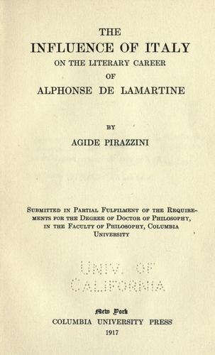Download The influence of Italy on the literary career of Alphonse de Lamartine