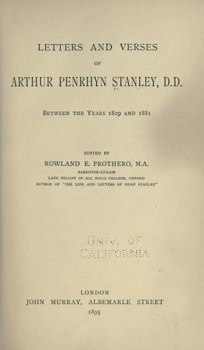 Letters and verses of Arthur Penrhyn Stanley, D.D.