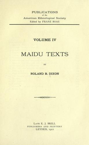 Maidu texts