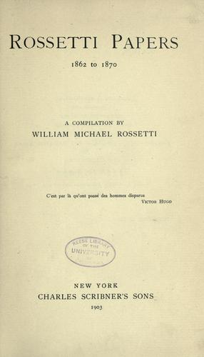 Rossetti papers, 1862-1870