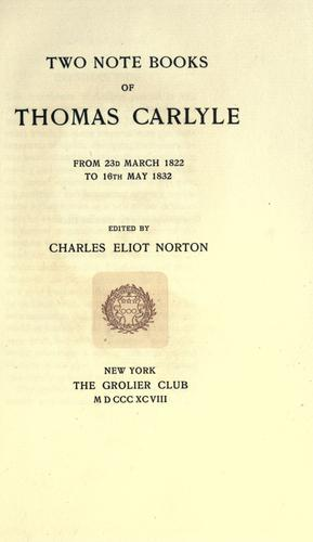 Two notebooks of Thomas Carlyle