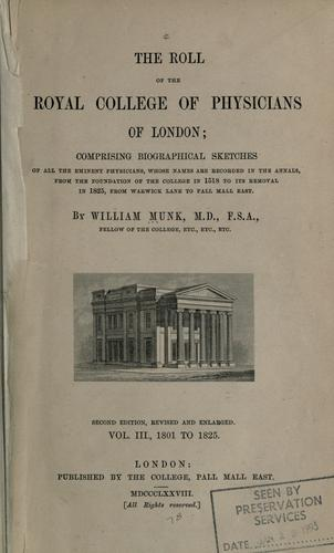 The roll of the Royal College of Physicians of London