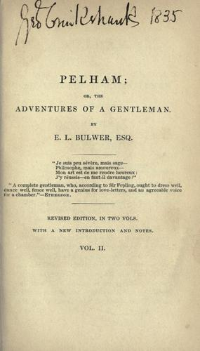 Download Pelham, or, The adventures of a gentleman