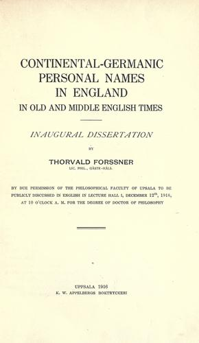 Download Continental-Germanic personal names in England in old and middle English times.