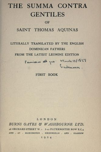 The Summa contra gentiles of Saint Thomas Aquinas
