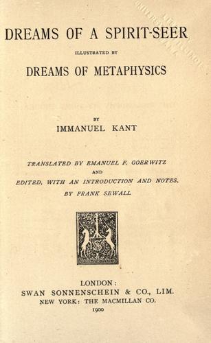 Download Dreams of a spirit-seer