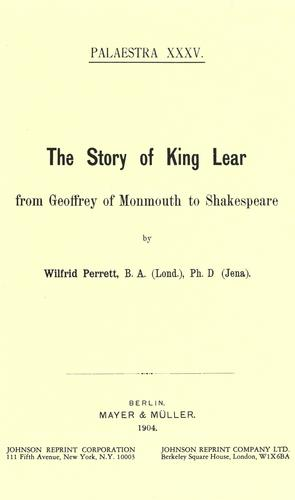 The story of King Lear from Geoffrey of Monmouth to Shakespeare