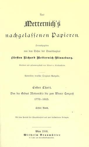 Aus Metternich's nachgelassenen Papieren.