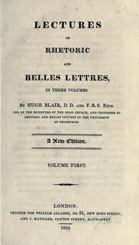 Download Lectures on rhetoric and belles lettres.