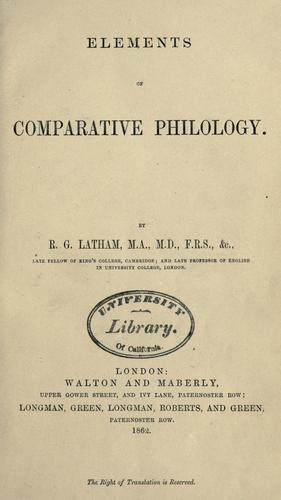 Download Elements of comparative philology