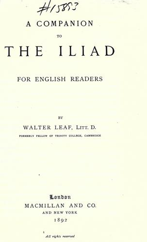 Download A companion to the Iliad, for English readers