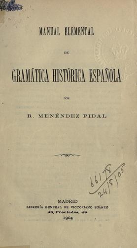 Manual elemental de gramática histórica española.