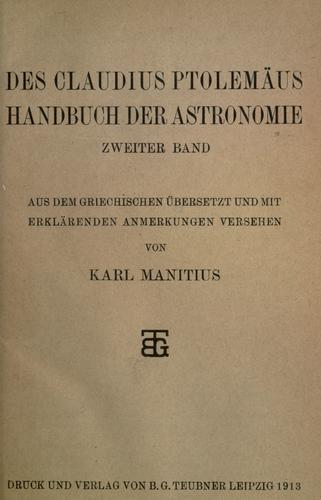 Download Des Claudius Ptolemäus Handbuch der Astronomie …