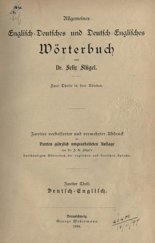 Allgemeines Englisch-Deutsches und Deutsch-Englisches Wörterbuch.