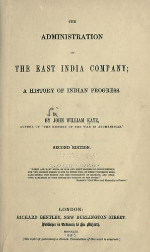 The administration of the East India Company
