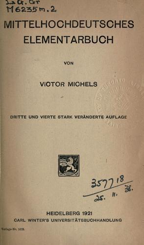 Mittelhochdeutsches Elementarbuch.
