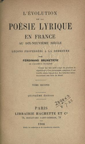 L' évolution de la poésie lyrique en France au dix-neuvième siècle