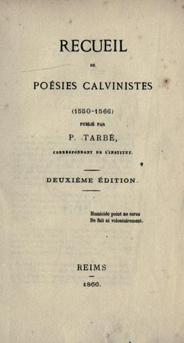 Download Recueil de poésies calvinistes (1550-1566)