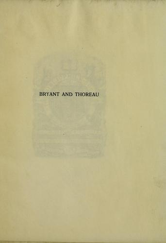 Unpublished poems by Bryant and Thoreau