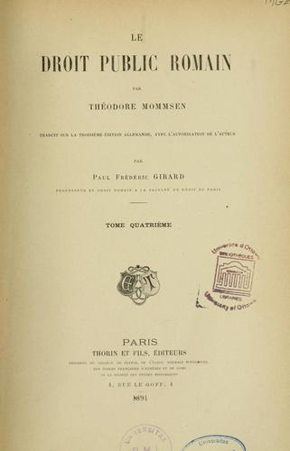 Le Droit public romain by Theodor Mommsen