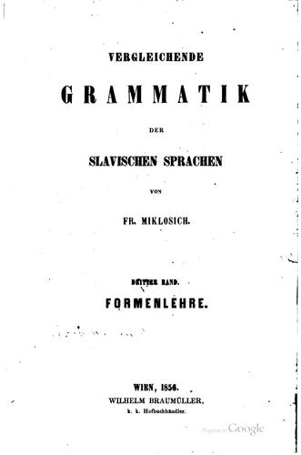 Download Vergleichende Grammatik der slavischen sprachen