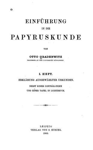 Download Einführung in die papyrus-kunde