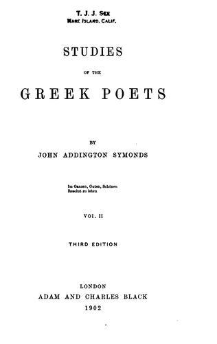 Download Studies of the Greek poets
