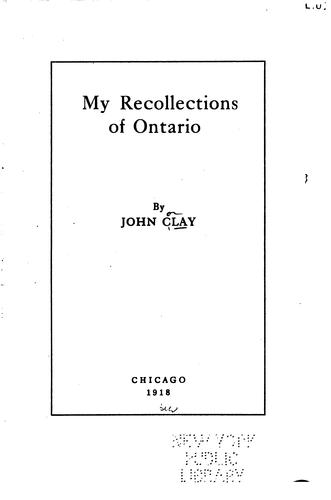 Download My recollections of Ontario